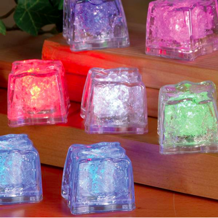 12 White LED Ice Cube Party Favors for Wedding Party Bar Club Holiday Decoration - Club Decorations