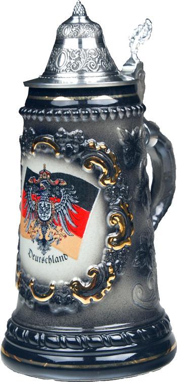Beer Steins by King Black German (Deutschland) Flag and CoA German Beer Stein (Beer Mug)... by King Werke Germany