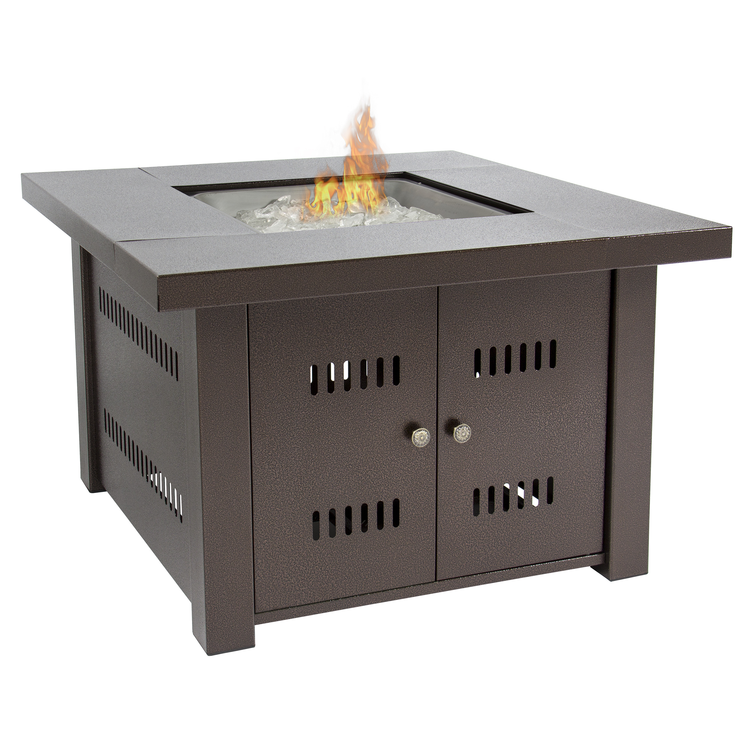 Gas Outdoor Fire Pit Table With Hammered Antique Bronze Finish With/ Cover    Walmart.com