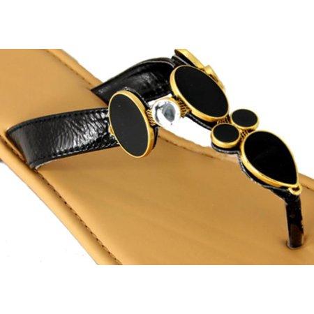 0f744dcda285 Women s Stylish Black Gem and Rhinestone Flip-Flop Thong Shoes - Size 5-6  ...