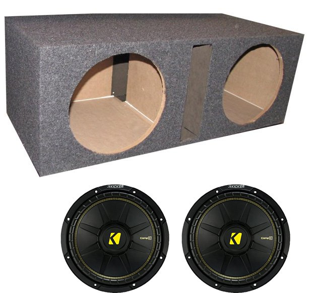 "2) New Kicker 44CWCS124 12"" 1200W Car Subwoofers + Dual Vented Sub Box Enclosure"