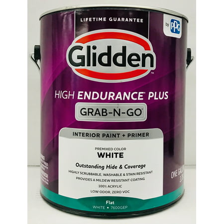 Glidden High Endurance Plus Grab-N-Go Flat Interior Paint & Primer, White, 1 Gallon