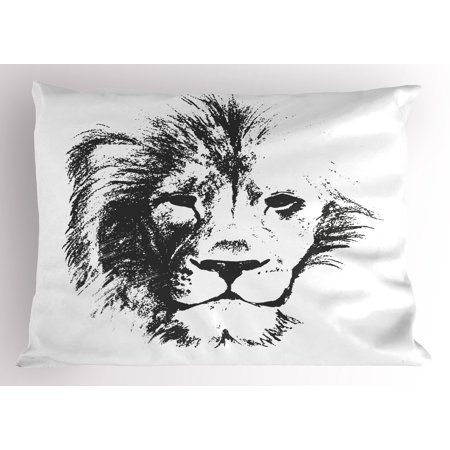 Tattoo Pillow Sham The King of the Jungle Pencil Drawing Handmade Majestic Lion Head Image Print, Decorative Standard Queen Size Printed Pillowcase, 30 X 20 Inches, Grey and White, by Ambesonne - Tattoo Drawings In Pencil