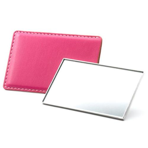 Aeropen International M-53 Colors Rectangle Shaped Single Sided Chrome Plated Metal Mirror with Pink PU Leatherette
