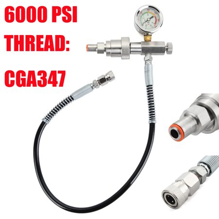 24'' 6000PSI CGA347 Paintball Air Fill Station Refill Adaptor Microbore Hose w/ 0-6000 PSI (Paintball Air Hose)