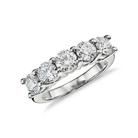 5 dwt Round Cut C&C Forever One Moissanite 5 Stone Anniversary Ring Bridal 14k W (Cut Moissanite 3 Stone Ring)