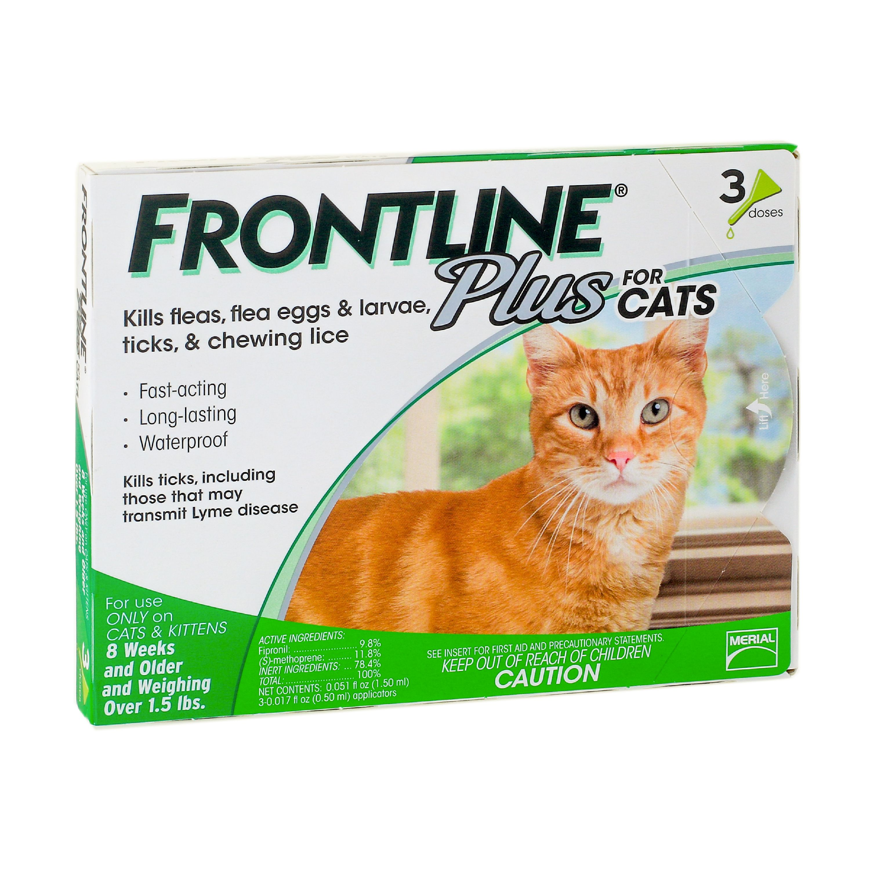 Frontline Plus Flea and Tick Prevention for Cats, 3 Monthly Treatments