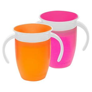 Munchkin Miracle 360 7oz Trainer Cup, BPA-Free, 2-Pack, Pink|Orange