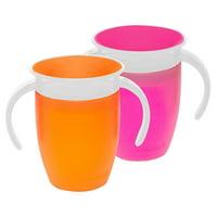 Munchkin Miracle 360 7oz Trainer Cup, BPA-Free, 2-Pack, Pink/Orange
