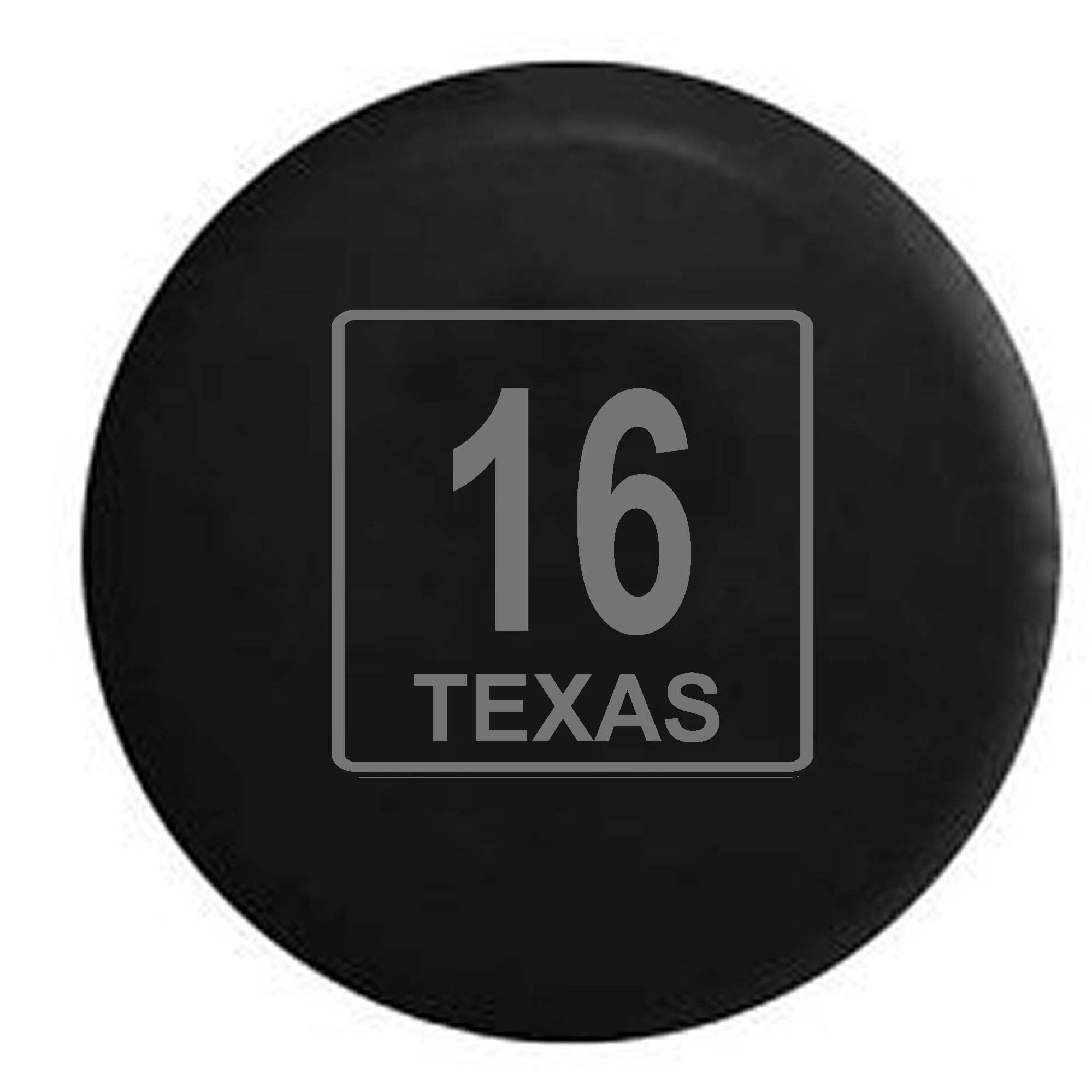 Texas State Route Highway 16 Scenic Road Sign Spare Tire Cover Vinyl Stealth Black 33 in