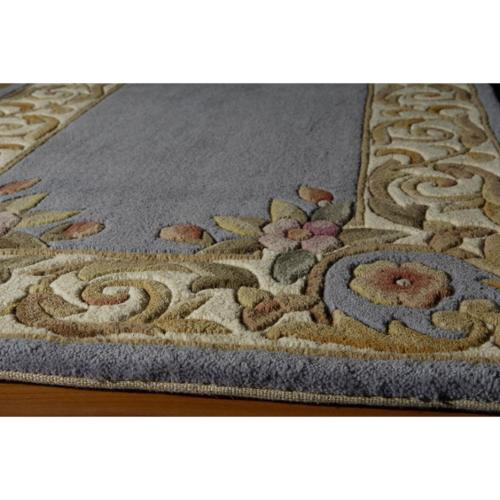 Aubusson Floral Border Hand Tufted Wool Area Rug 2 3 X 12