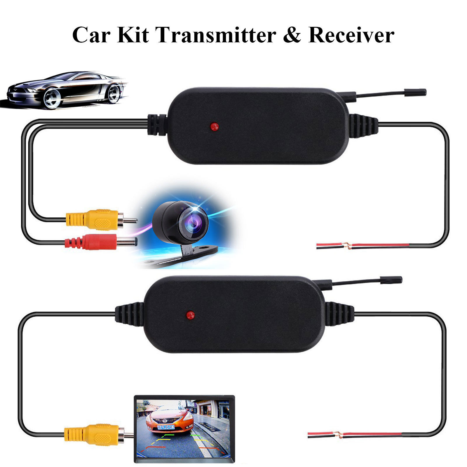 EEEKit 2.4G Wireless RCA Color Video Transmitter & Receiver Module Kit for 12V Car Rear View Camera