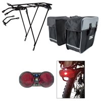 Bicycle Rack, Rear Light, and Pannier Bag Bundle