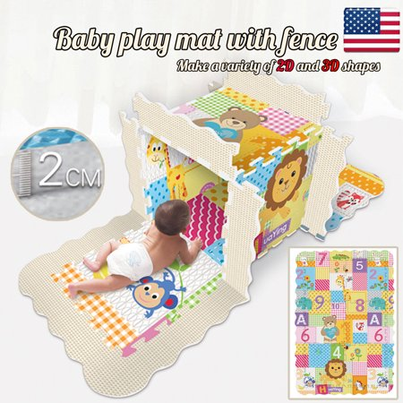 Baby Tile - Iuhan Baby Play Mat With Fence Baby Crawl Mat Puzzle Play Bubble Tile Non-toxic Toy