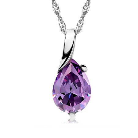 Ginger Lyne Collection Purple Pear Teardrop Shape CZ Pendant Water Waves chain Necklace