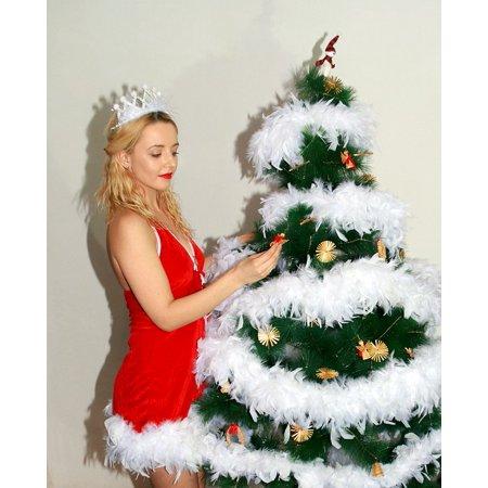 Girl Wreath - LAMINATED POSTER White Snowflakes Girl Christmas Tree Wreath Poster Print 24 x 36