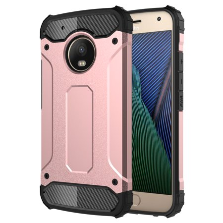 (Moto Z2 Play Case, KAESAR Premium SLEEK SLIM FIT DURABLE ANTI SLIP Anti-scratch Dual Layer Shockproof Dustproof Armor Protective Case Cover for Motorola Z2 Play - Rose Gold)
