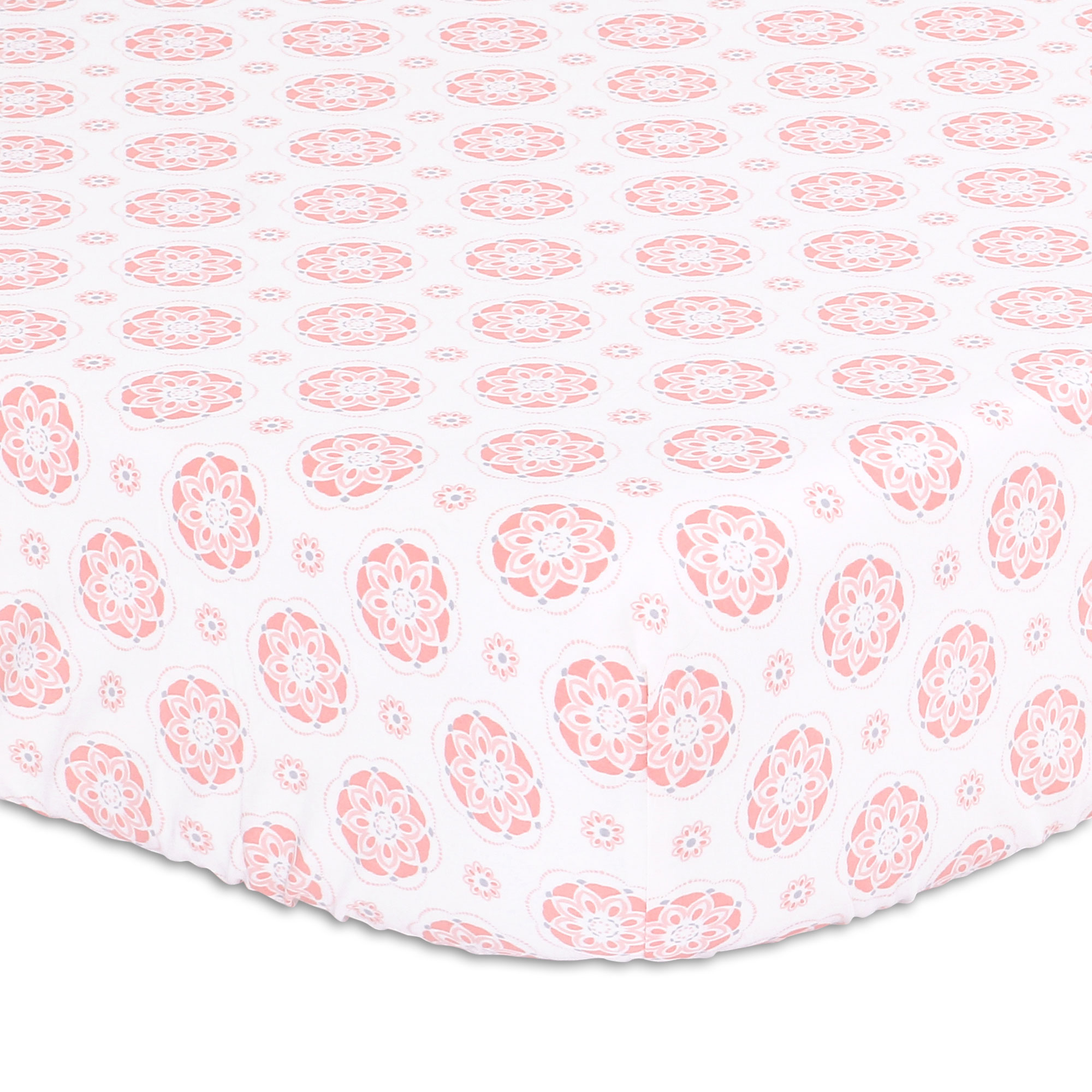 Coral Pink Starstruck Baby Girl Floral Medallion Fitted Crib Sheet