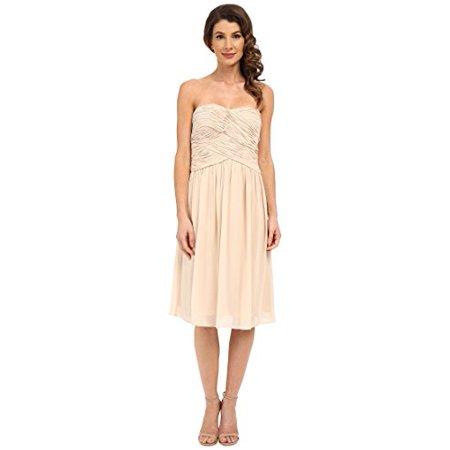 Donna Morgan Women's Anne Short Strapless Chiffon Dress Champagne Dress (Donna Morgan Silk Chiffon)