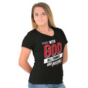 Jesus Junior V-Neck T-Shirts Tee Tshirts With God All Things Are Possible Christian