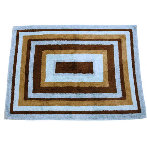 My Baby Sam Mad About Plaid 100% Rug, Blue & Chocolate