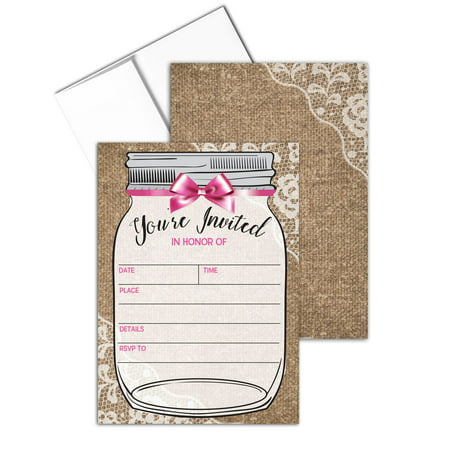 Rustic Baby Girl Shower Invite with Envelopes - Fill-in Invitations - B15201](Baby Girl Invitations)