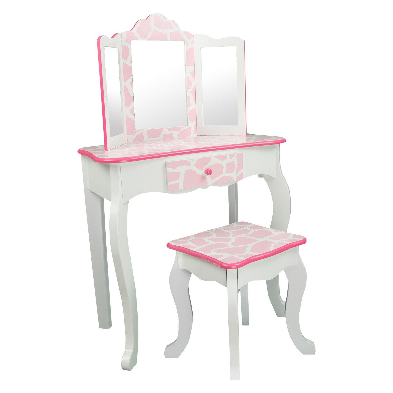 Teamson Kids Giraffe Prints Gisele Vanity Table Stool Pink White