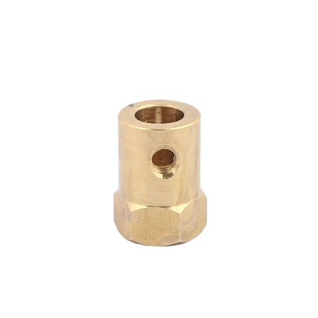 7mm Bore 18mm Length Brass Motor Tyre Coupling Joint Hex Coupler Gold (7mm Rem Mag Brass)