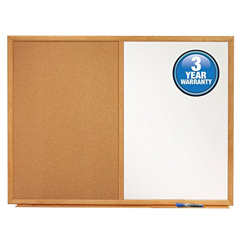 Acco Quartet Dry Erase Board & Cork Board Combination, 3 x 2', Oak Finish Frame (S553)