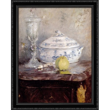 - Tureen And Apple 28x34 Large Black Ornate Wood Framed Canvas Art by Berthe Morisot
