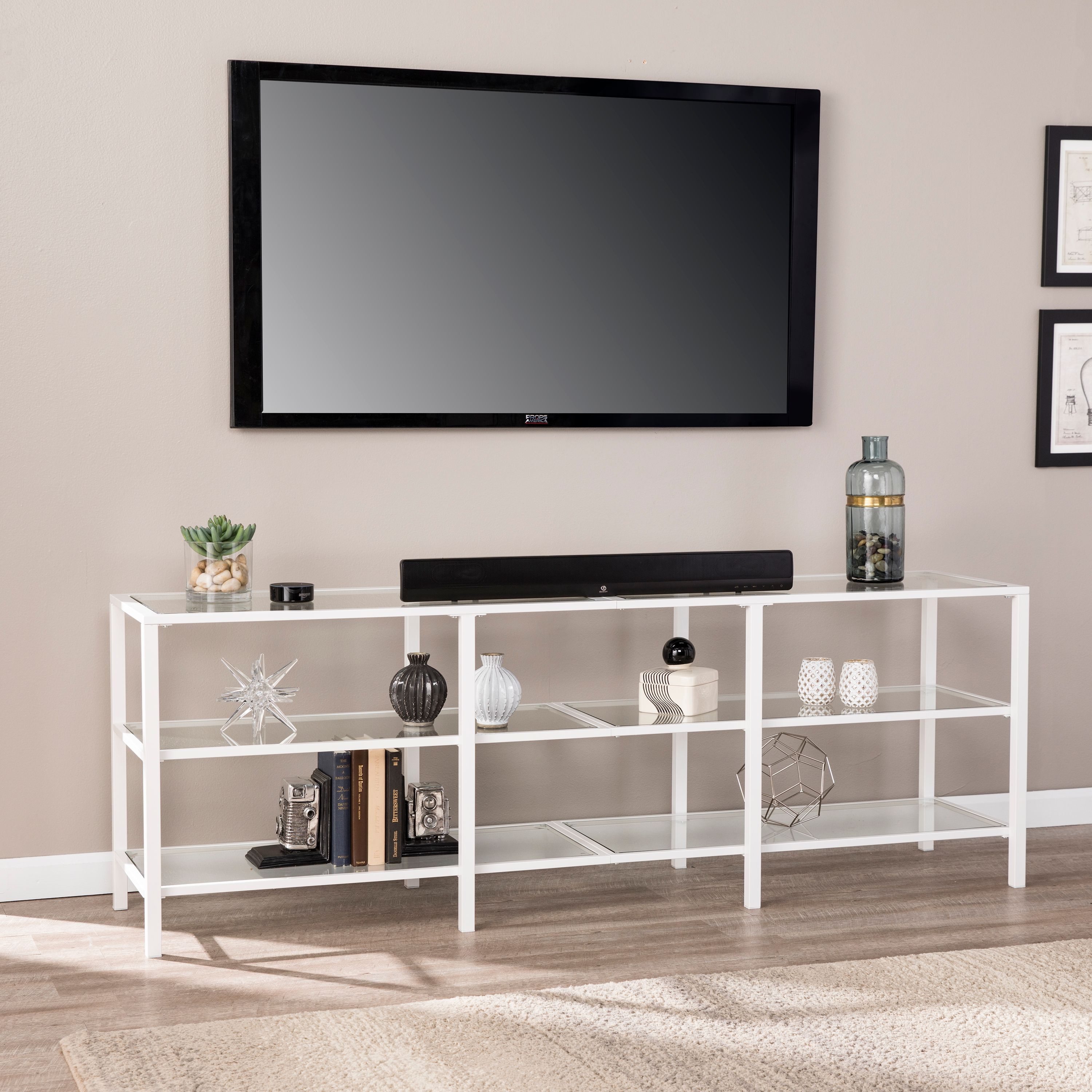 Southern Enterprises Tyler Metal/Glass TV Stand, Transitional Style, Matte White