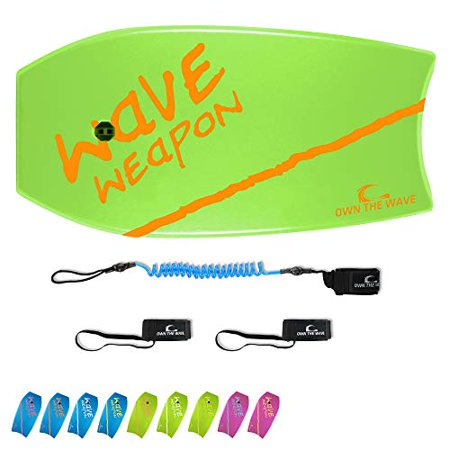 Own the Wave 37 Inch Body Board Pack with EPS Core and HDPE Slick Bottom - Lightweight and Buoyant Perfect for Surfing - Comes with Coiled Leash and Swim Flippers Savers (Green & Orange)