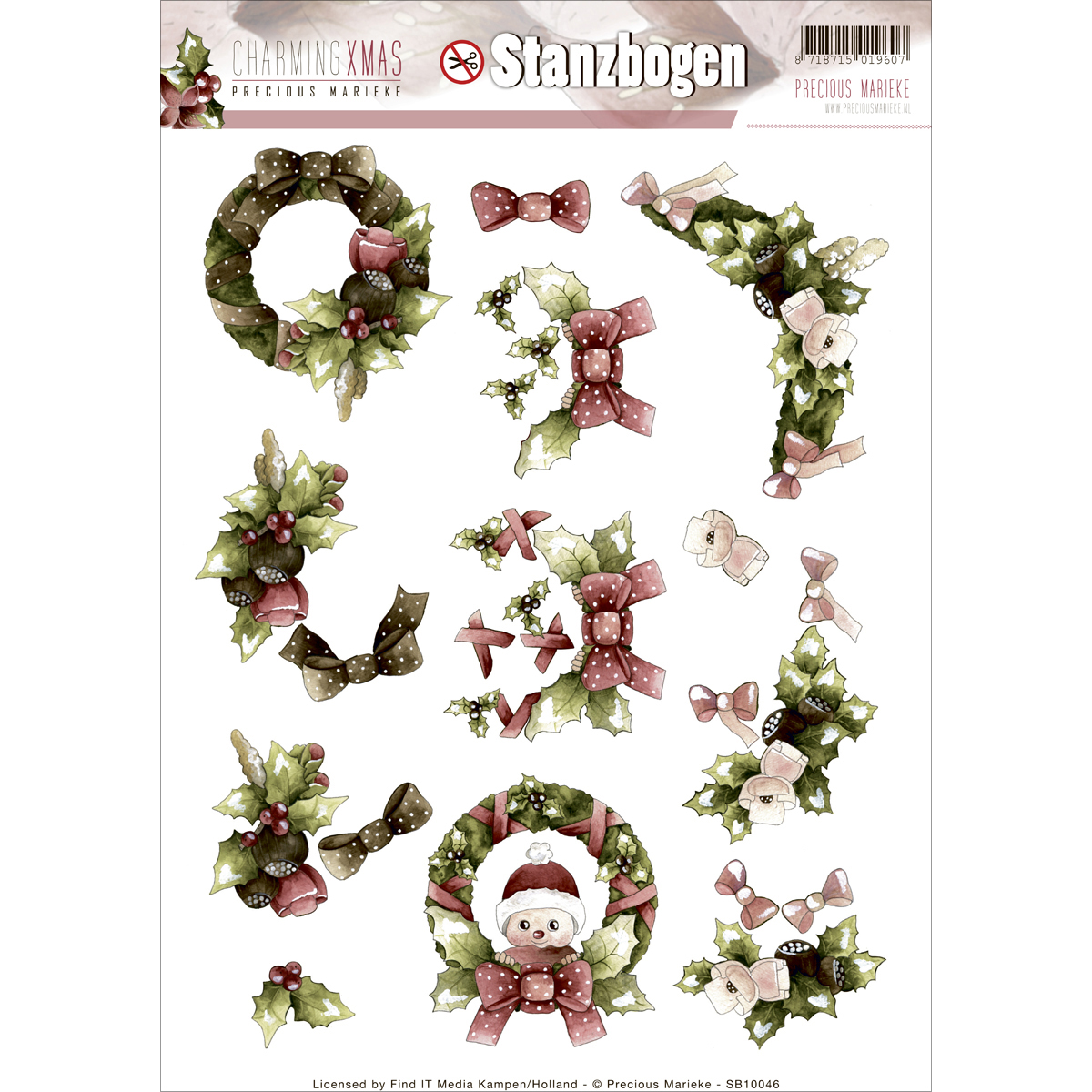 Find It Precious Marieke Charming Christmas Punchout Sheet-Wreath & Swag