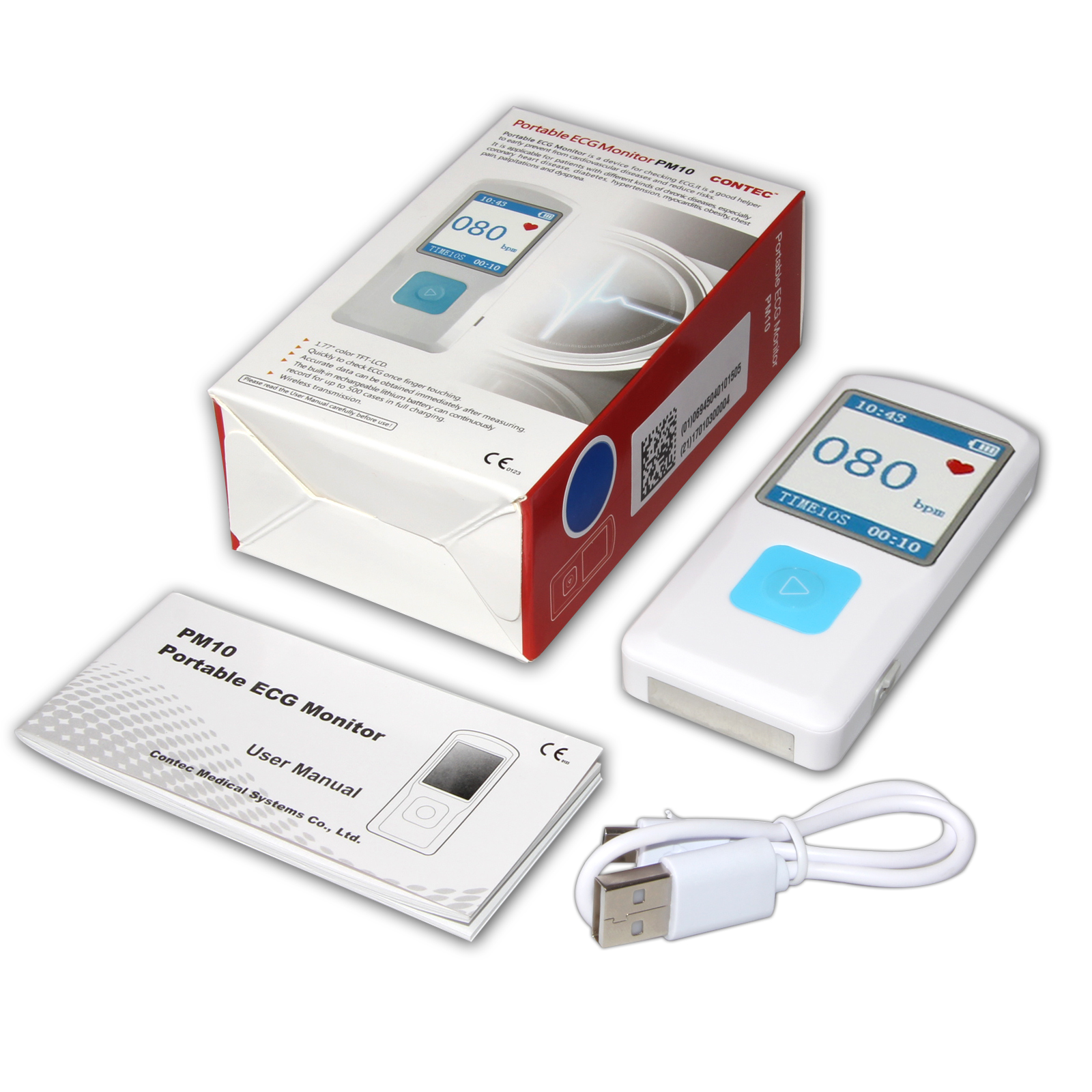 "PM10 Portable ECG Monitor 1.77"" color TFT-LCD Display with Bluetooth Wireless Transmission"