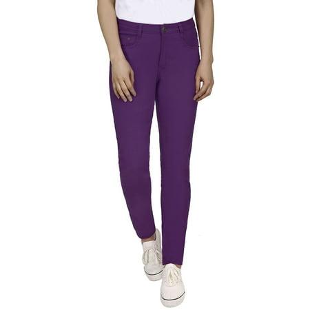 HDE Women's Mid-Rise Stretchy Denim Slim Fit Skinny Jeans (Purple,