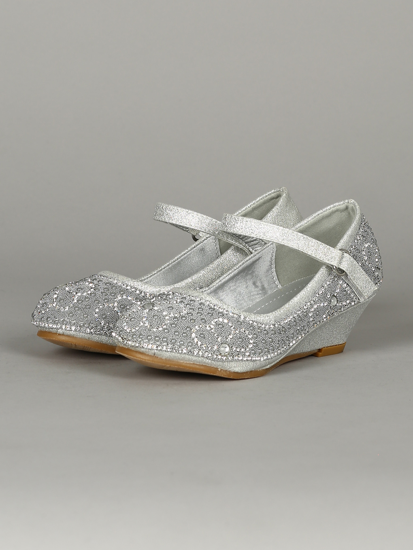 Girl Glitter Pearl Embellishment Mary Jane Wedge Heel 18326