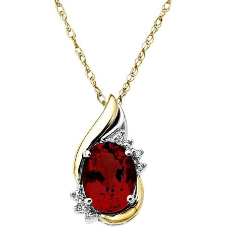 Sterling Silver with 10kt Yellow Gold Oval Garnet and Diamond Accent Pendant necklace
