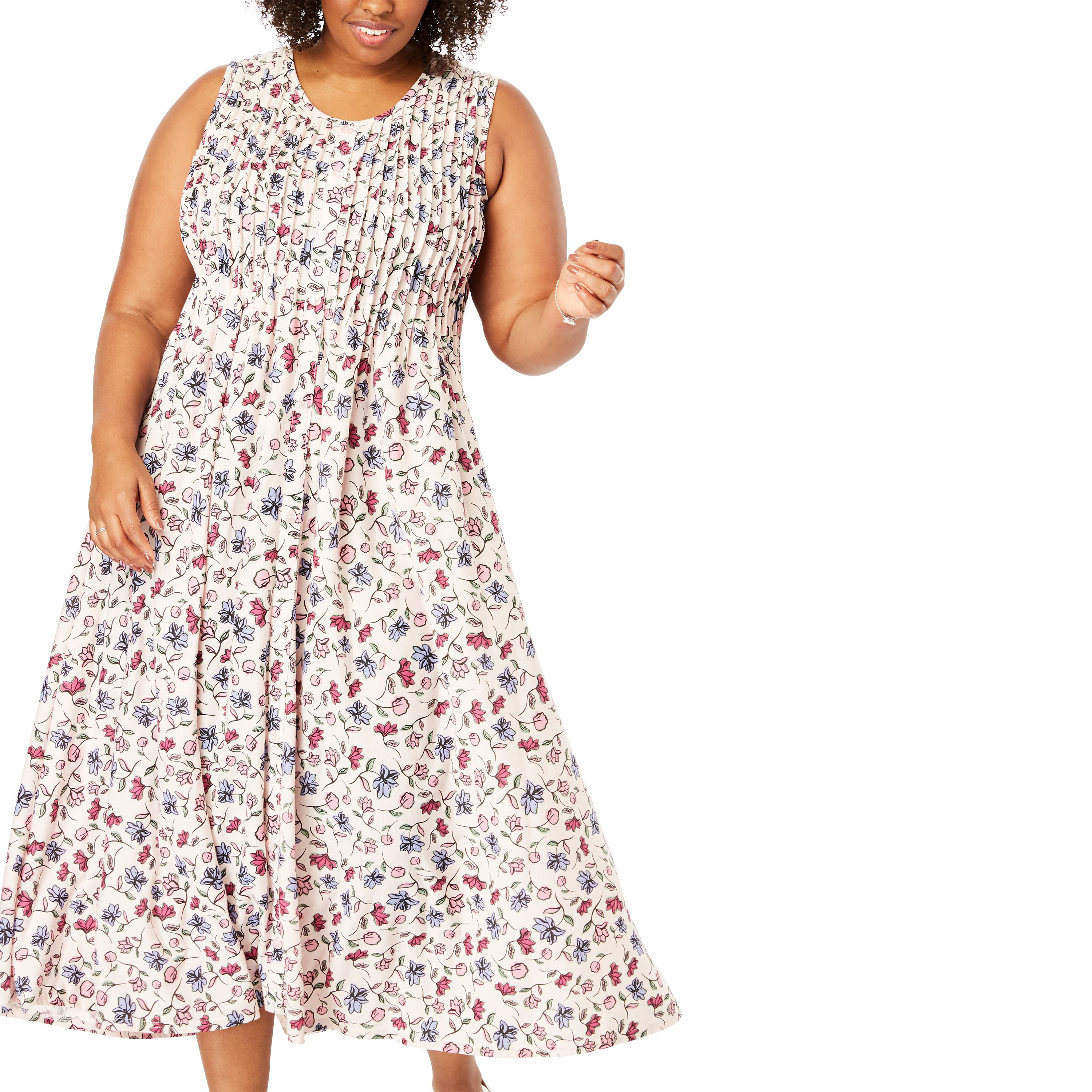 cf8a0ff3098 Woman Within - Woman Within Plus Size Pintucked Floral Sleeveless Dress -  Walmart.com
