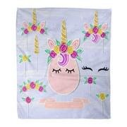 HATIART Flannel Throw Blanket Unicorn Tiara Horn Flower Wreath Symbols As Patch Stick Cake Topper Drink Props for Baby Birth 50x60 Inch Lightweight Cozy Plush Fluffy Warm Fuzzy Soft