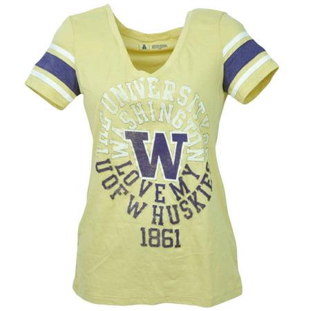 NCAA Washington Huskies Yellow Womens Short Sleeve Tshirt Tee V Neck XSmall XS
