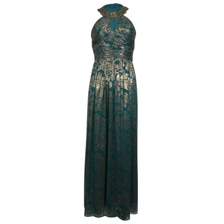 Cachet Womens Beaded Keyhole Halter Metallic Chiffon Dress