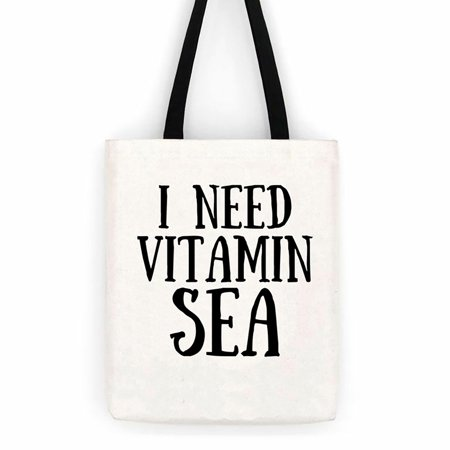I Need Vitman Sea Cotton Canvas Tote Bag  Beach Day Trip Bag