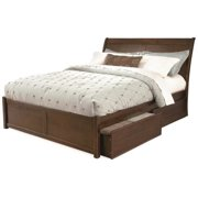 Leo & Lacey Platform Bed with Flat Panel Footboard in Antique Walnut - King
