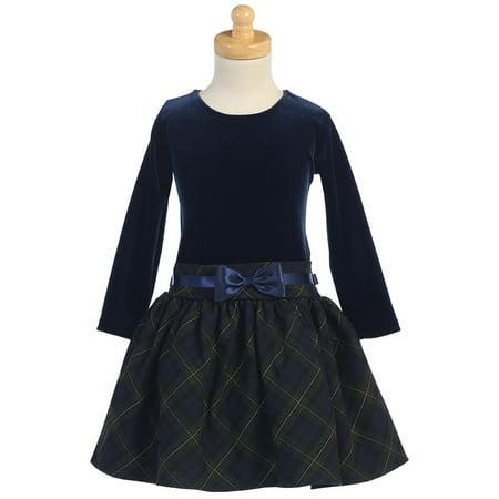 Made in the USA - Navy & Green Long Sleeve Velvet & Plaid Holiday / Christmas Girls' Dress (Girl Velvet Dress)