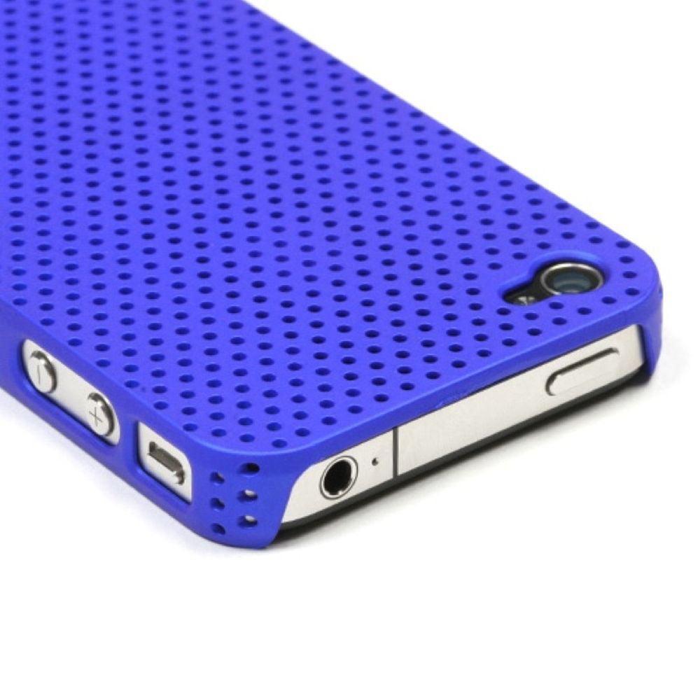 Insten Titanium Solid Dark Blue Lattice Back Case For iPhone 4 4S - image 2 of 3