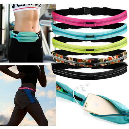 Double Zipper Running Belt Sport Pack Fanny Waist Bag Workout Pouch Black Oak Fanny Pack