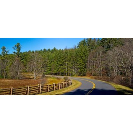 Road passing through a forest Blue Ridge Parkway North Carolina USA Canvas Art - Panoramic Images (15 x