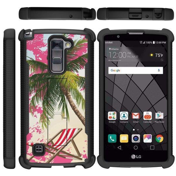 TurtleArmor ® | For LG Stylus 2 Plus | LG Stylo 2 Plus [Rugged Grip] Grip Combat Armor Kickstand Defender Case - Pink Sand Palm Tree