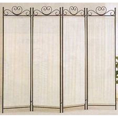 Legacy Decor 4-panel Room Screen Divider Ivory Linen Fabric and Black Metal Frame
