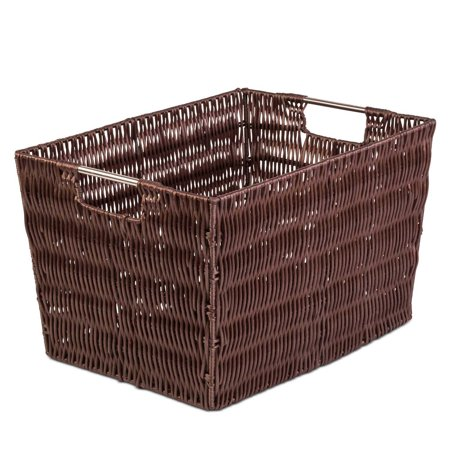 Large Brown Woven Storage Basket Walmart Com